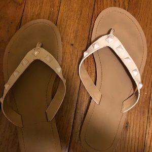 Rebecca minkoff leather flip flops